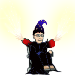 Erik as wizard wearing point hat and purple robe